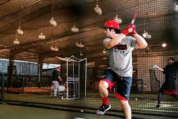 Baseball Player practicing